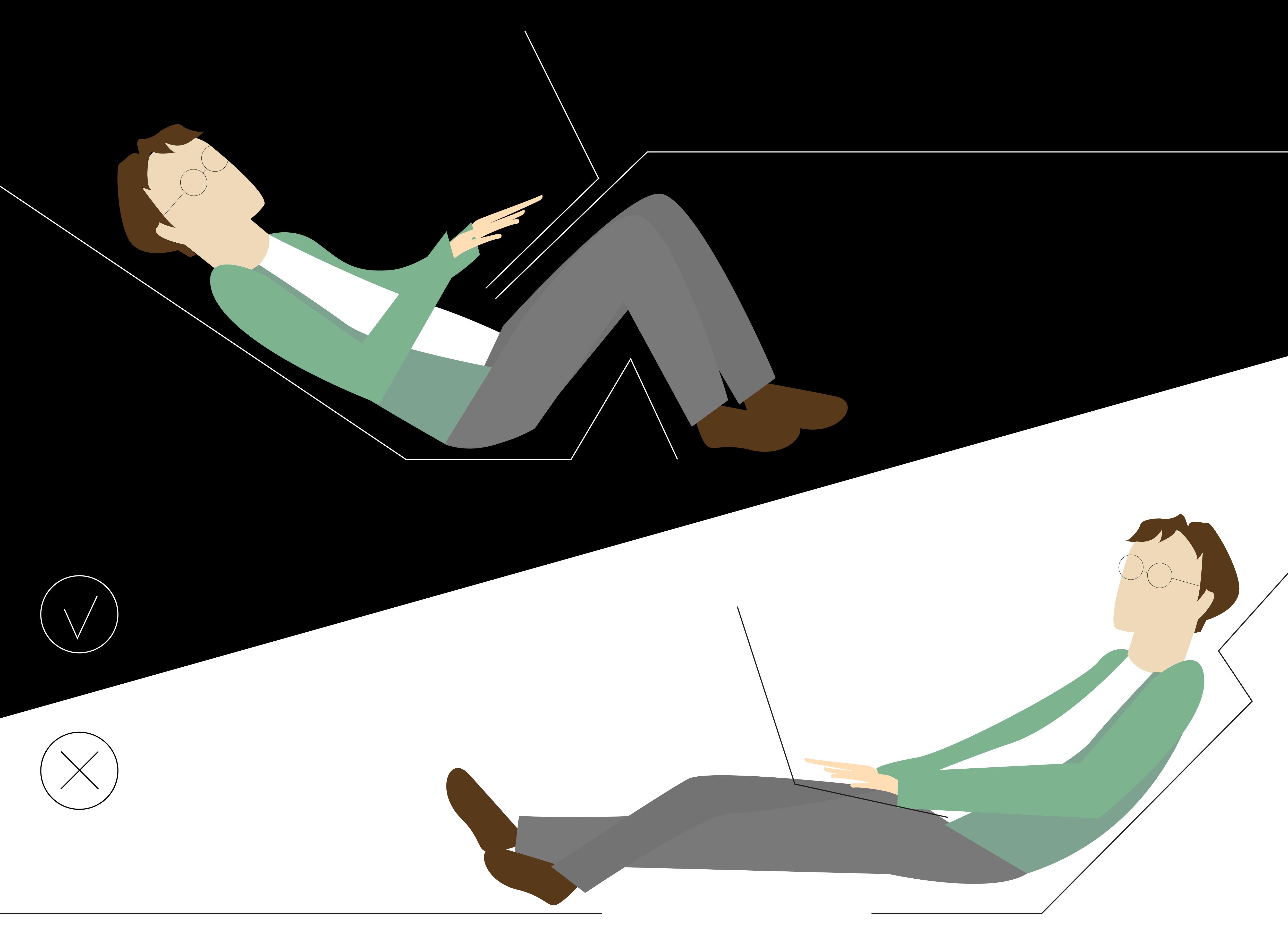 travailler allongé sans avoir mal au dos kamasutra jobasutra workasutra illustration par charlie la freelance