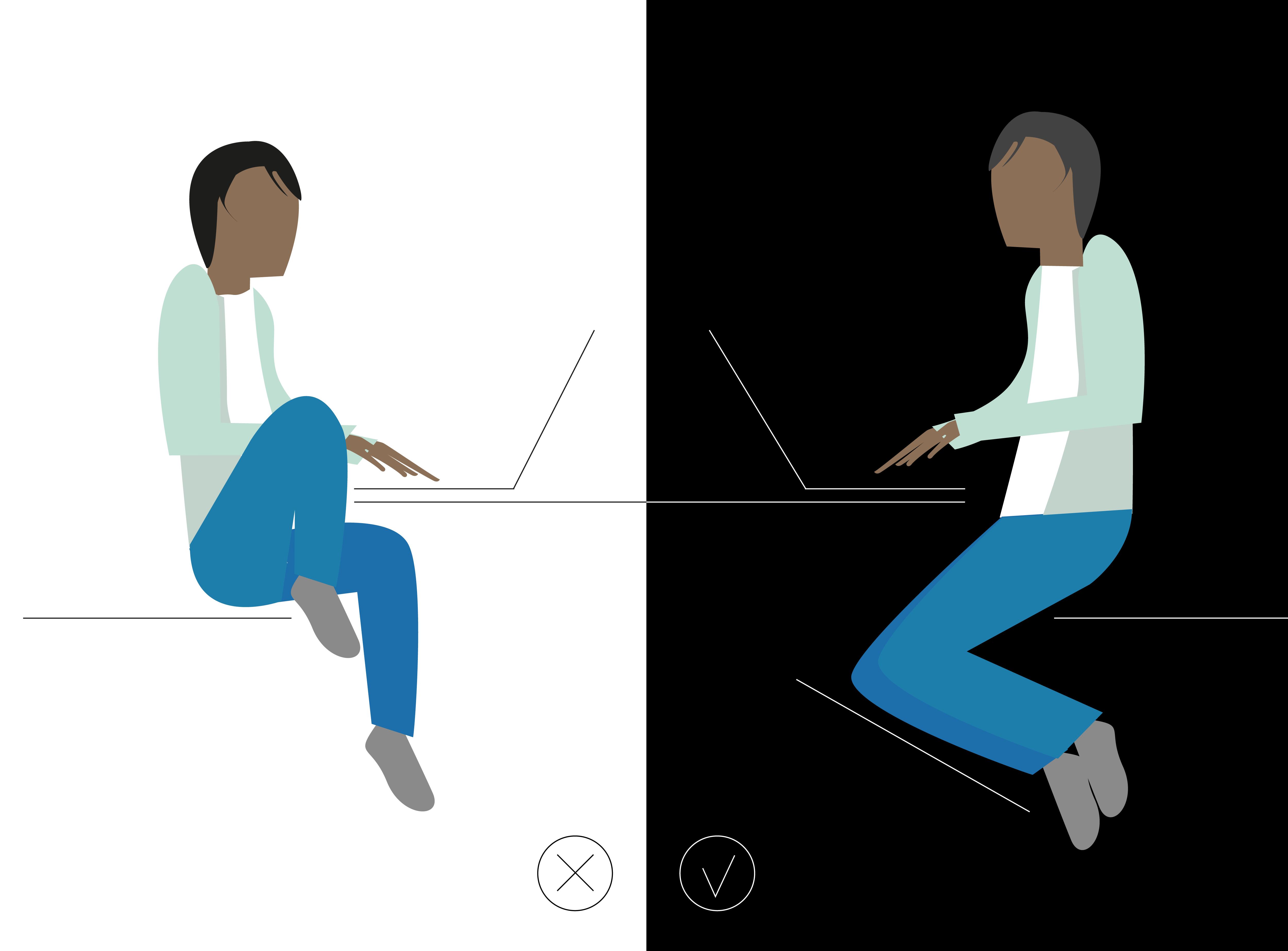 travailler assis sans avoir mal au dos kamasutra jobasutra workasutra illustration par charlie la freelance