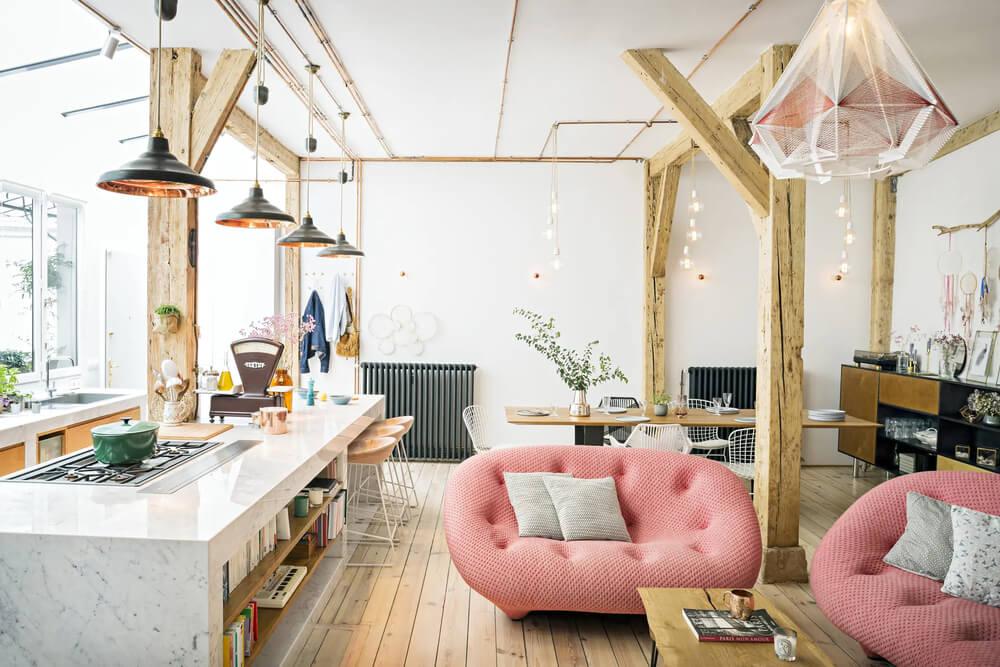Loft design cocooning boisé et tout rose