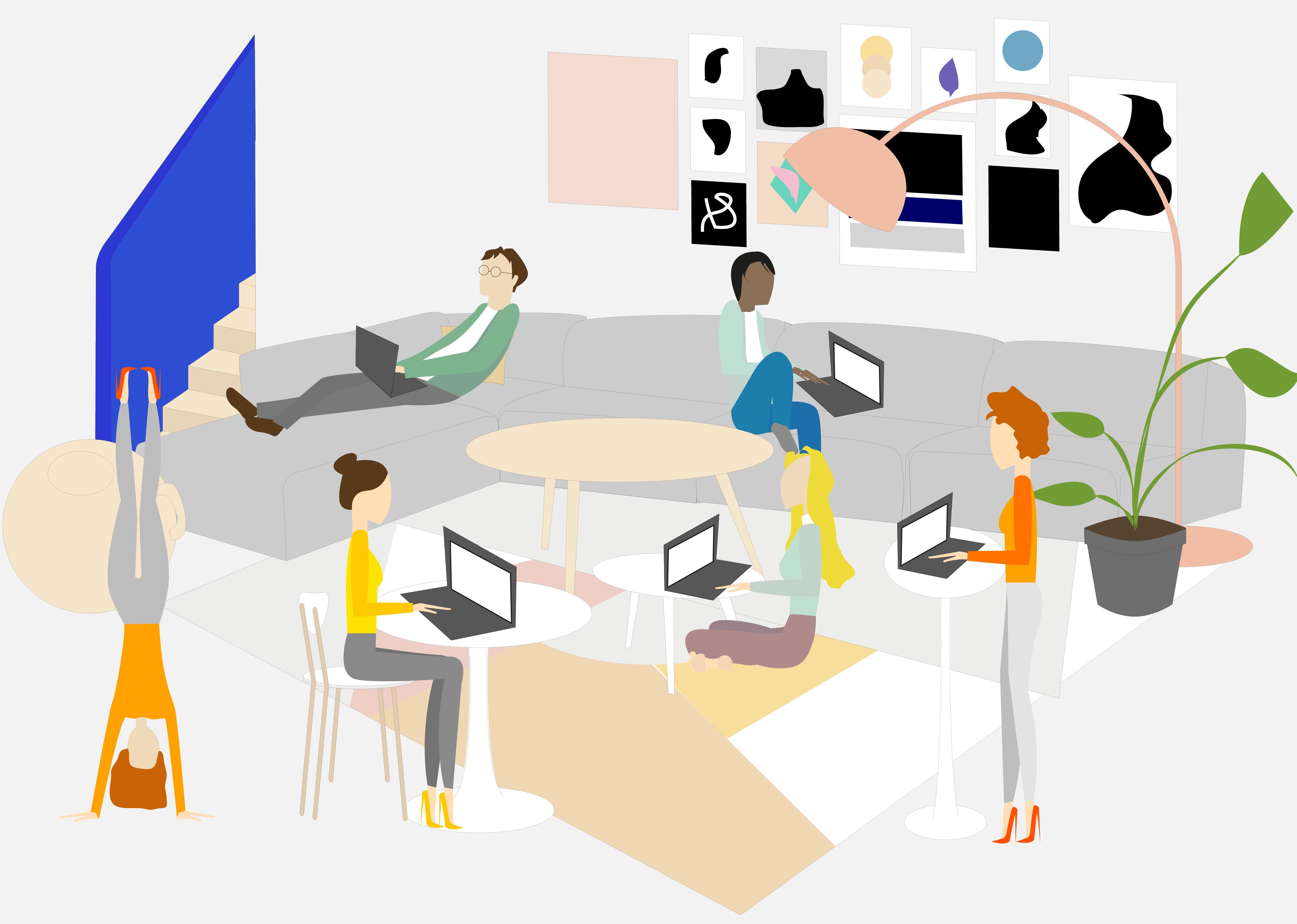 travailler sans avoir mal au dos kamasutra jobasutra workasutra illustration par charlie la freelance