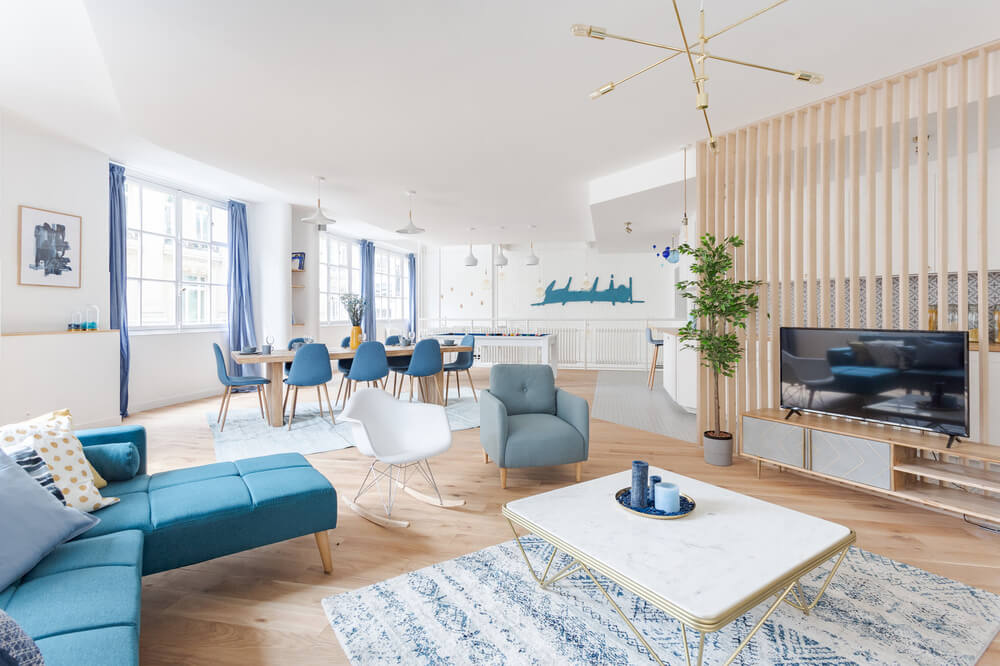 Grand appartement lumineux et tout bleu !
